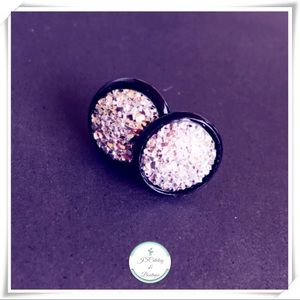 Handmade Silver Druzy Earrings on Black Setting